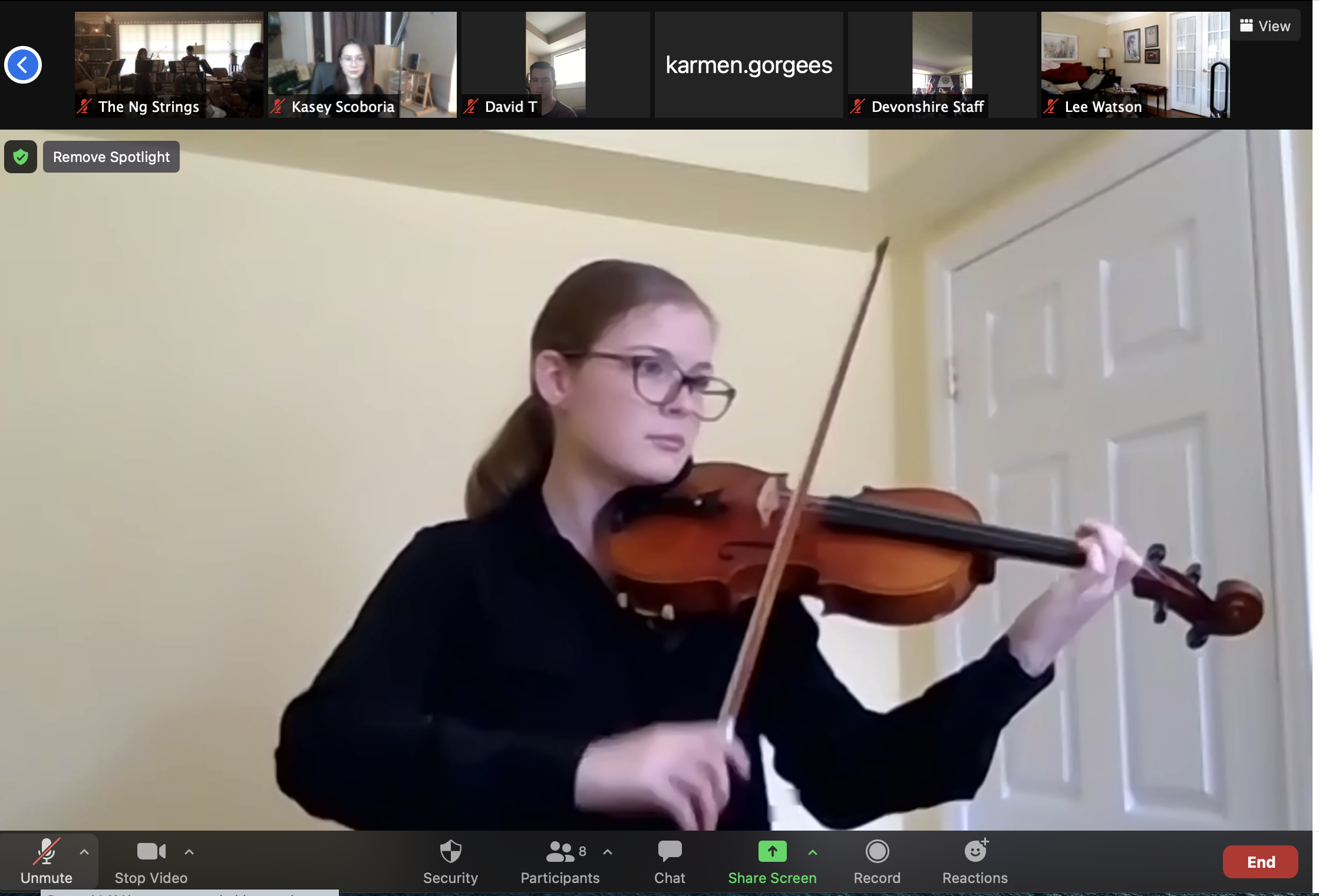 Youth musician plays violin